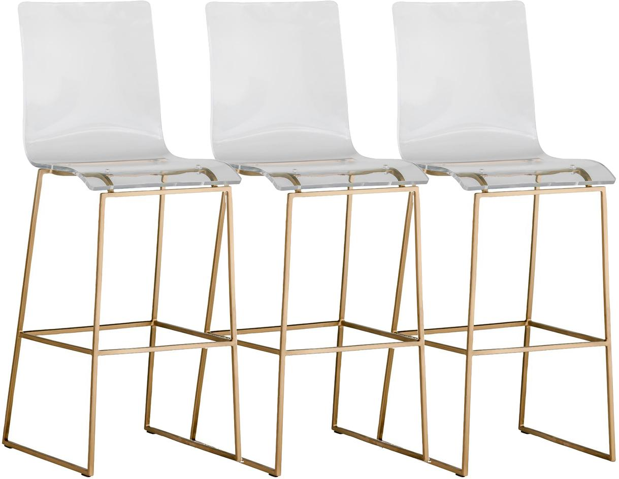Contemporary Gabby Home King Clear Lucite Acrylic U0026 Gold Bar Stool Chairs U2013  Set Of 3