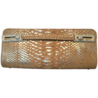 Judith Leiber Tan and Gold Faux Snakeskin Python Crystal Buckle Clutch For Sale