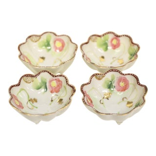 Footed Porcelain Salt Cellars, S/4 For Sale
