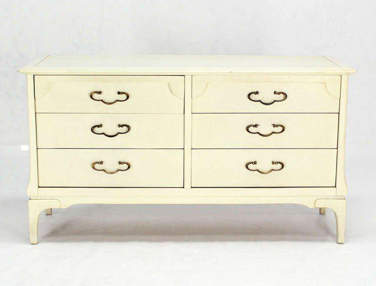 1960s Mid Century Modern White Lacquer Dresser With Ornate Drawer