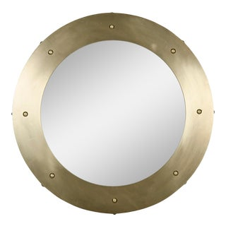 Clay Mirror, Small, Antique Brass For Sale