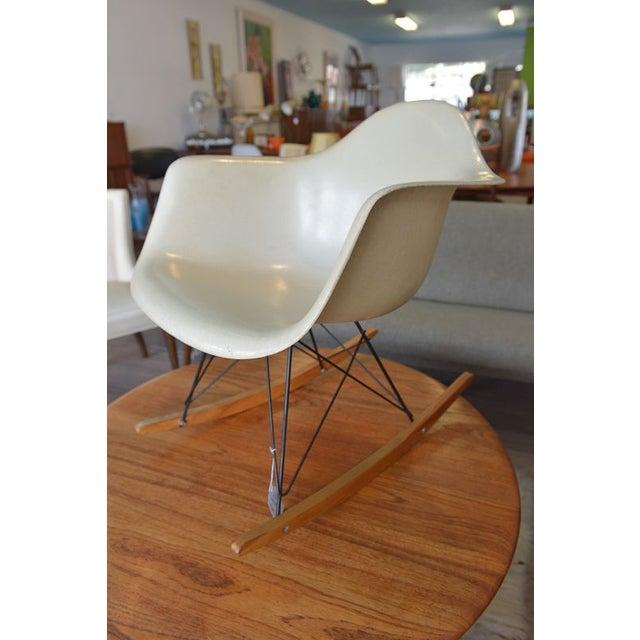 Rock & Roll! An original Eames Herman Miller fiberglass rocking chair with the original base and markings. A beautiful...