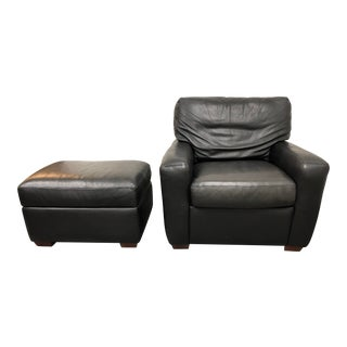 Contemporary American Leather Chair and Storage Ottoman - 2 Pieces