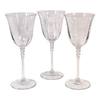 Vintage Mikasa Sonata Glasses Platinum Trim Water Goblets - Set of 3 For Sale