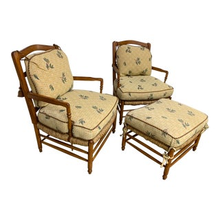 Vintage Mid Century Brunschwig & Fils French Country Arm Chairs and Ottoman For Sale