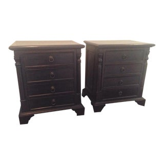 Solid Mahogany Wood Nightstands - A Pair For Sale