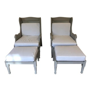 Modern Wingback Chairs & Ottomans - 4 Pieces For Sale