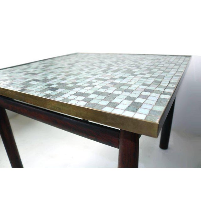 Mid-Century Modern Edward Wormley Rosewood Occasional Table for Dunbar with Murano Glass Tile Top For Sale - Image 3 of 5