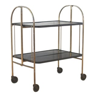 Vintage Midcentury Modern Foldable Bar Cart For Sale