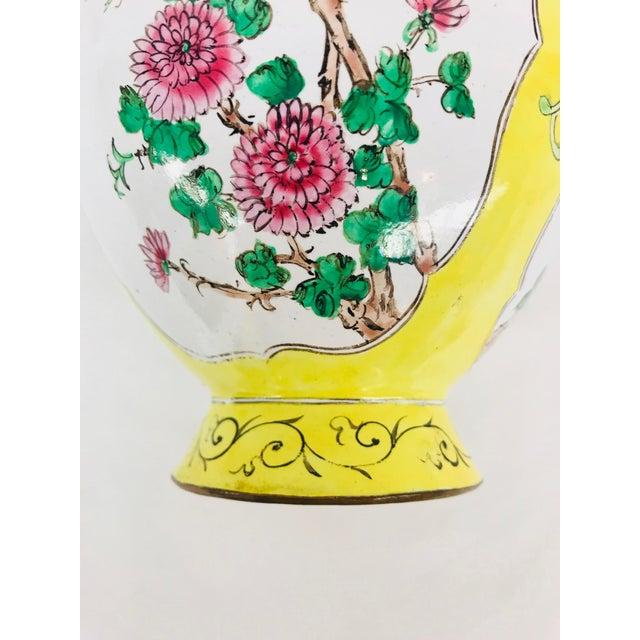 Yellow Cloisonné Floral Vase - Image 6 of 12