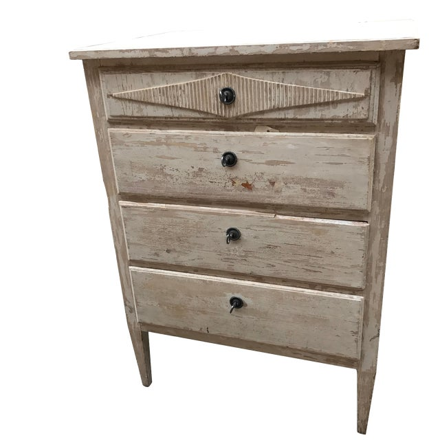 1880s French Painted White Chest Commode Chest For Sale