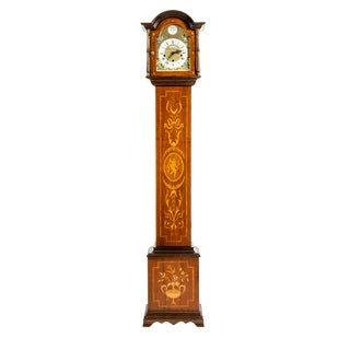 Marquetry Wood Tall Case Clock For Sale