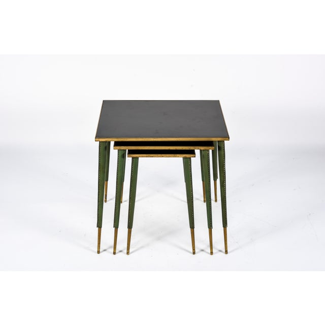 Green Rare Stitched Leather Nesting Tables by Jacques Adnet - Set of 3 For Sale - Image 8 of 9