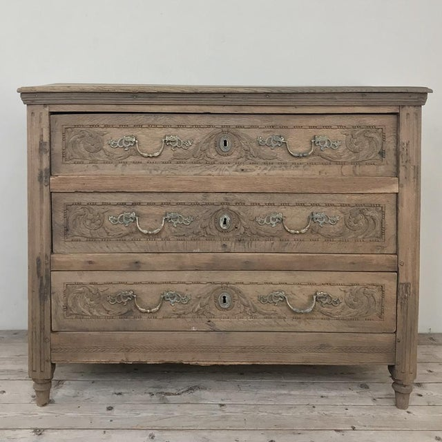 18th Century French Louis XVI Stripped Oak Commode For Sale - Image 13 of 13