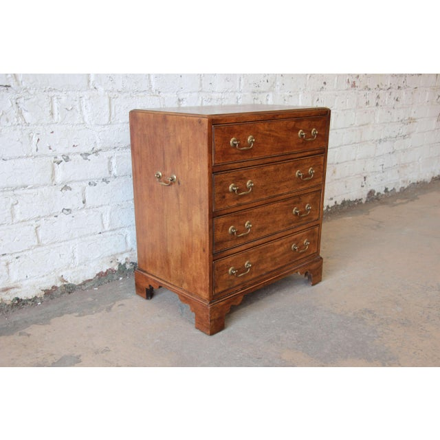 Georgian Vintage Walnut Chest by Davis Cabinet Co. For Sale - Image 3 of 9