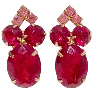 60's Gold & Ruby Swarovski Crystal Earrings For Sale