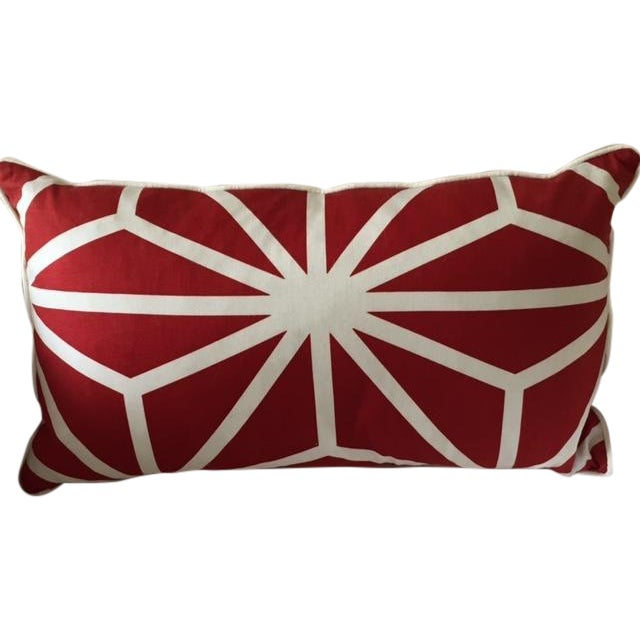 Red and White Patterned Pillow - Image 1 of 4