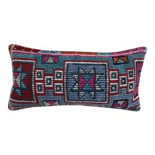 Blue Star Kilim Lumbar Pillow For Sale