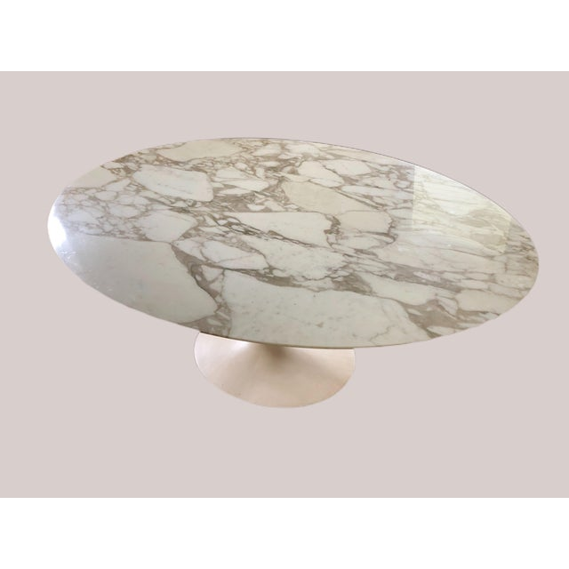 "Knoll Eero Saarinen 78"" Oval Arabescato Marble Tulip Dining Table For Sale - Image 9 of 9"