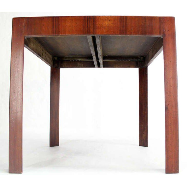1950s Oiled Walnut Italian Mid-Century Modern Game or Dining Table with One Leaf For Sale - Image 5 of 8