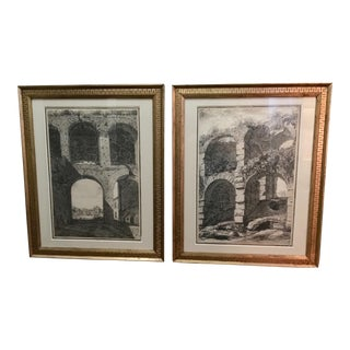 19th C. Pencil Drawings of Roman Ruins - A Pair For Sale