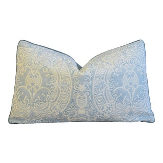 "Blue & White Quadrille Linen & Romo Velvet Feather/Down Pillow 28"" X 17"""