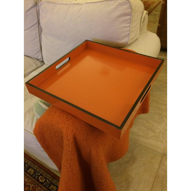 Mid-Century Modern Hermès Inspired Orange Lacquer Tray For Sale - Image 9 of 11