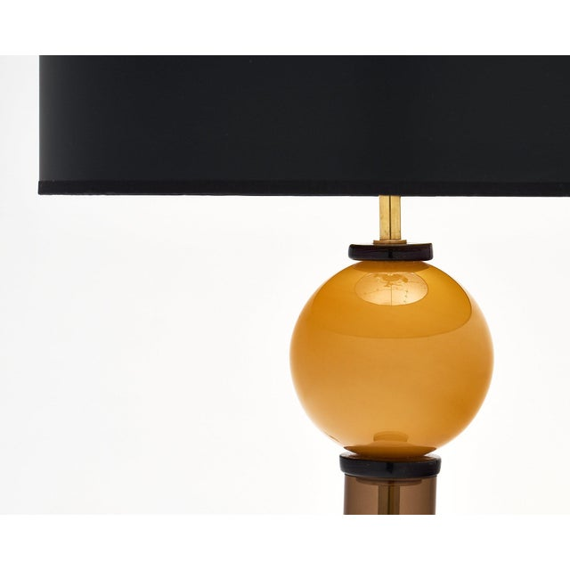 Gold Murano Glass Geometric Caramel Lamps For Sale - Image 8 of 11