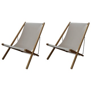 Gloster Adjustable Folding Lounge Chairs - a Pair For Sale
