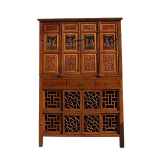 Chinese Brown Open Panel Relief Carving Storage Stack Cabinet For Sale