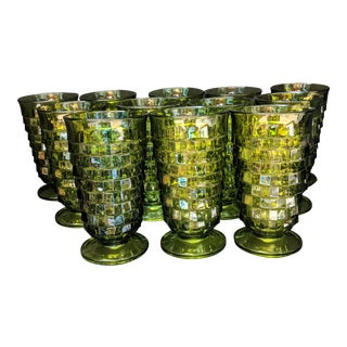 1960s Green Fostoria Water Tea Glasses - Set of 12 For Sale