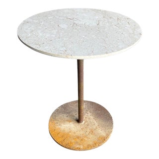 Minimalist Round Marble Table With Rusty Organic Modern Base For Sale