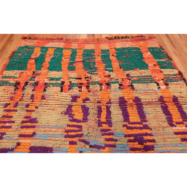Mid 20th Century Vintage Moroccan Colorful Rug - 5′2″ × 10′ For Sale - Image 5 of 12