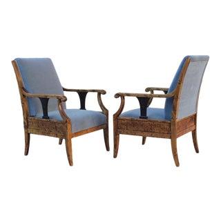 1920s Vintage Swedish Biedermeier Revival Armchairs- a Pair For Sale