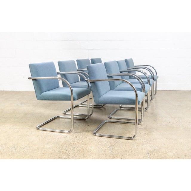 Blue Mies Van Der Rohe Blue Brno Dining Chairs For Sale - Image 8 of 11