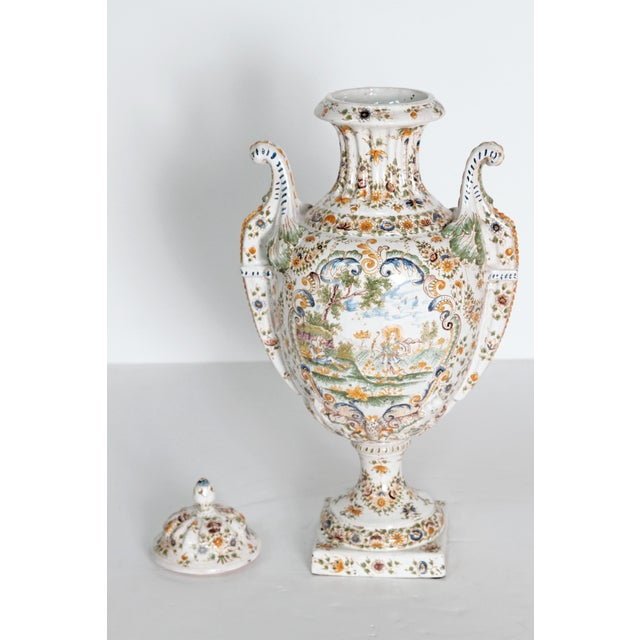 18th Century French Faience Lidded Urn For Sale - Image 9 of 11