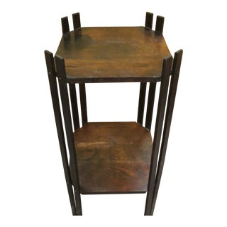 Vintage Mission Style Oak Plant Stand For Sale