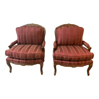 Traditional Imports Custom Bergere Arm Chairs- a Pair For Sale
