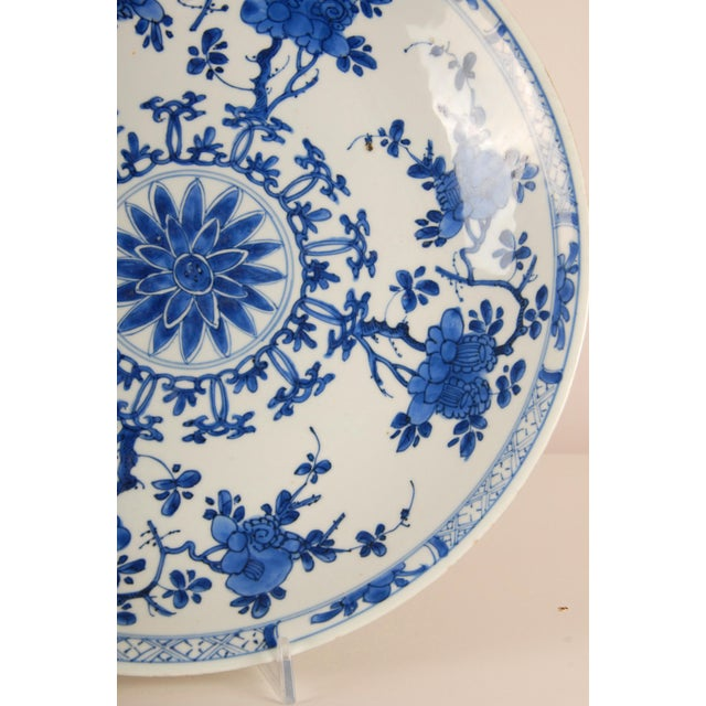 Ceramic 17th Century Antique Chinese Ming Porcelain Blue and White Deep Charger Bowl For Sale - Image 7 of 12