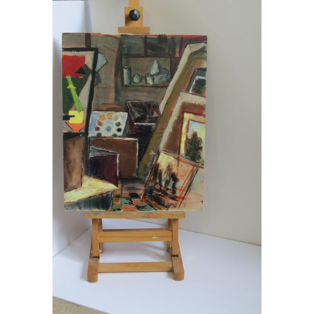"""Trudy Taylor """"Artist's Studio"""" Abstract Oil Painting - Image 2 of 5"""