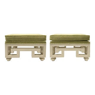 Vintage Greek Key Ottomans With Chartreuse Striped Velvet — a Pair For Sale