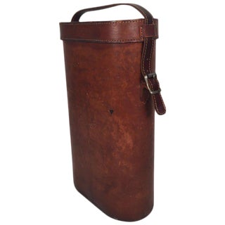 Vintage Leather Two Bottle Wine Carrier, Circa 1940s-1950s For Sale