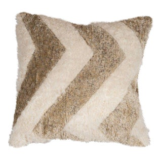 Chevron Pillow in Champagne and White Mongolian Lambswool For Sale
