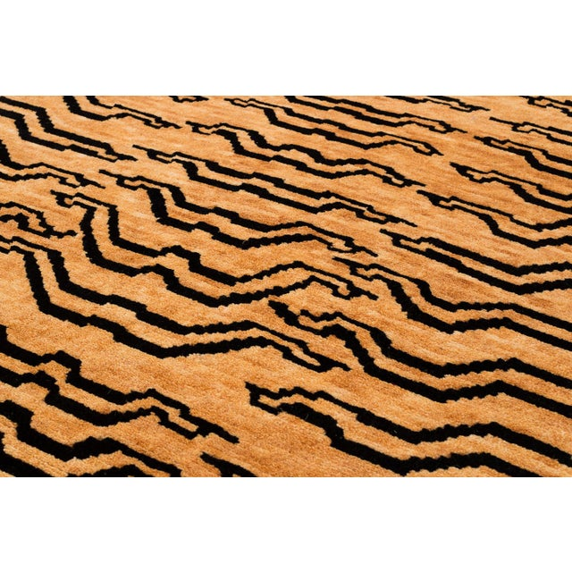 Asian Black and Golden Tan Wool Tibetan Tiger Area Rug-3′ × 6′ For Sale - Image 3 of 7