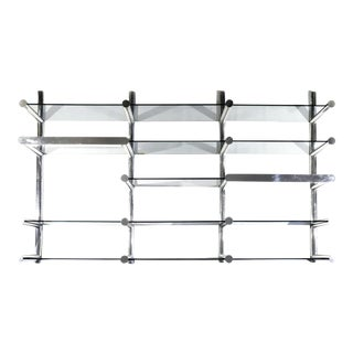 Orba Chrome and Glass Wall Unit by Janet Schwietzer for Pace Collection For Sale