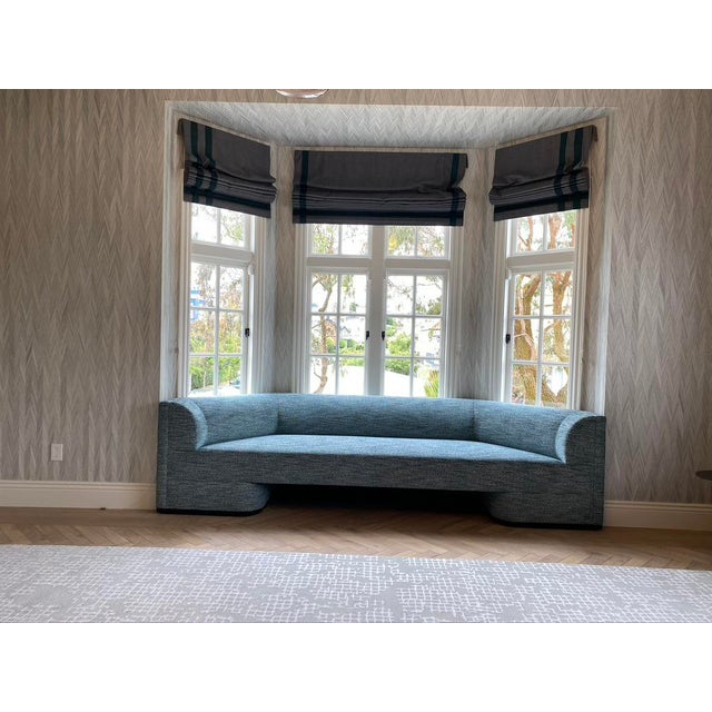 Contemporary Featured in The 2020 San Francisco Decorator Showcase — Custom Shaped Teal Settee For Sale - Image 3 of 12
