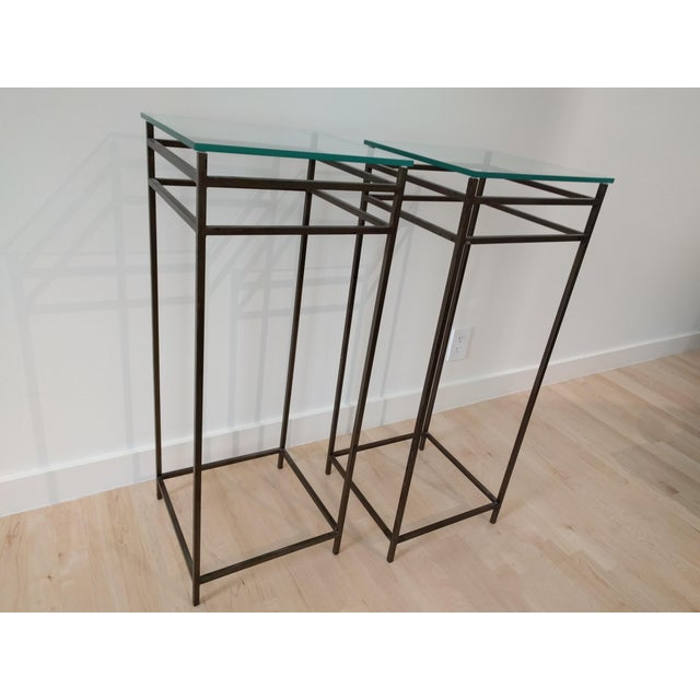 Modern Contemporary Tall Metal Plant Stands - a Pair For Sale - Image 10 of 12