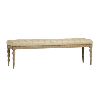 Tufted Linen Oak Bench For Sale
