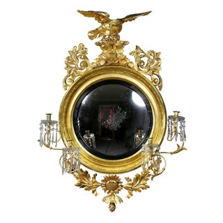 Regency Giltwood Convex Girandole Mirror For Sale