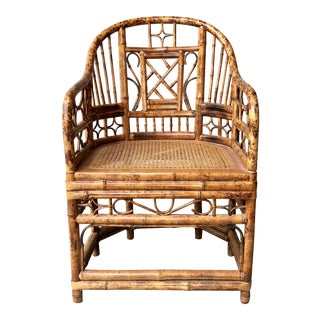 Vintage Brighton Pavilion Style Chippendale Bamboo Chair